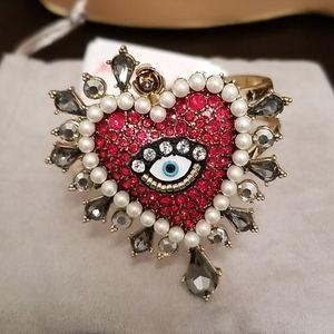TwoTone Crystal Imitation Pearl Evil Eye bracelet